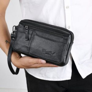 leather wrist bag for him